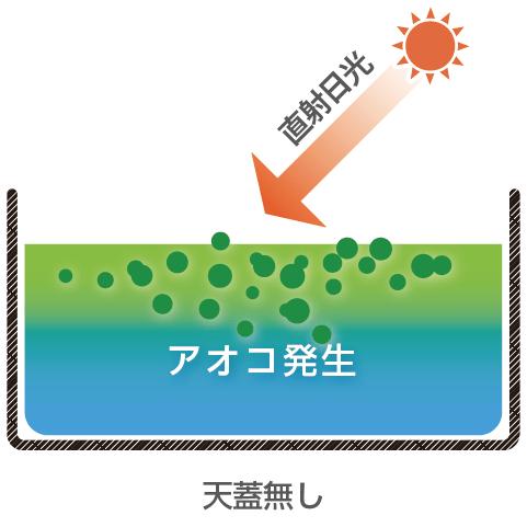 天蓋システム適用前:直射日光によるアオコ発生